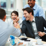 happy employee at meeting