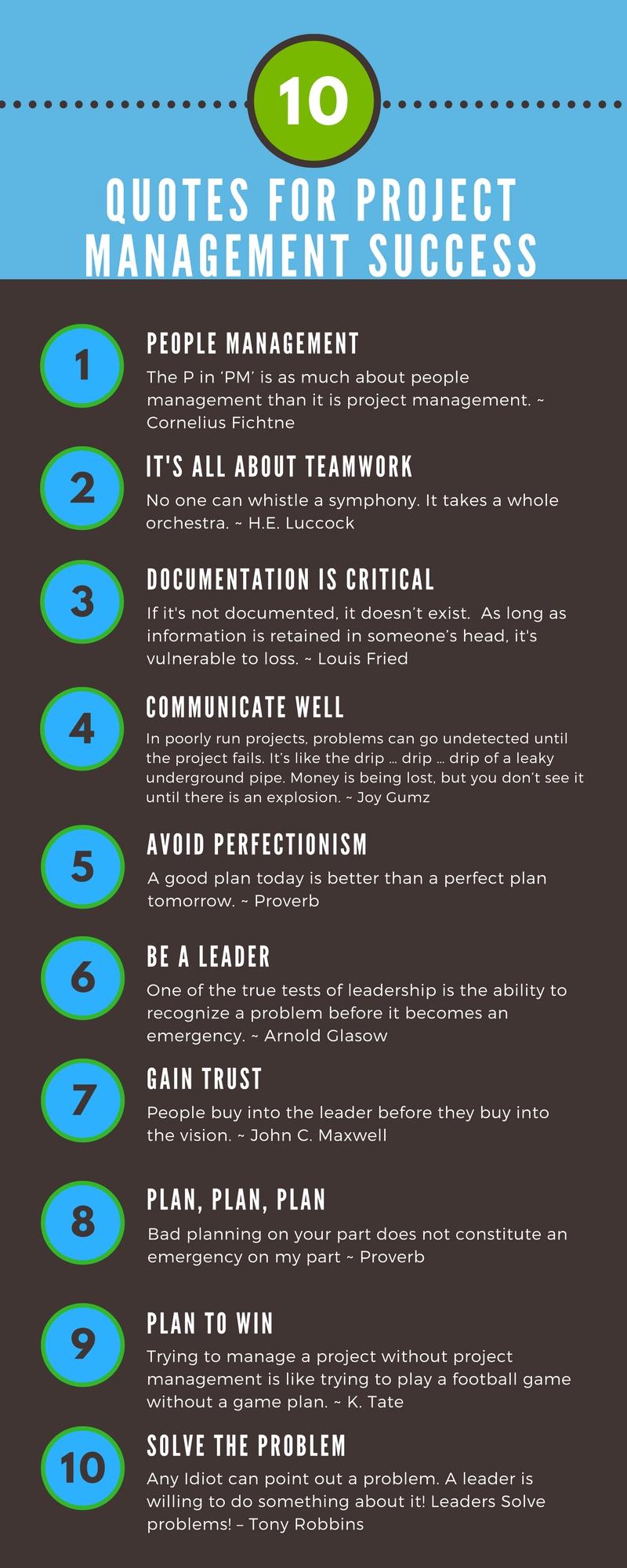 Project Management: 10 Best Quotes For Project Management Success (Infographic